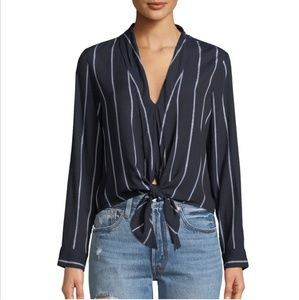NWT Rails Ava Navy Striped Tie-Front Crop Blouse